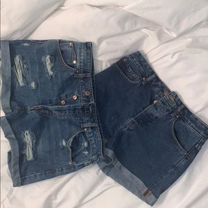 Two pairs of high waisted jean shorts